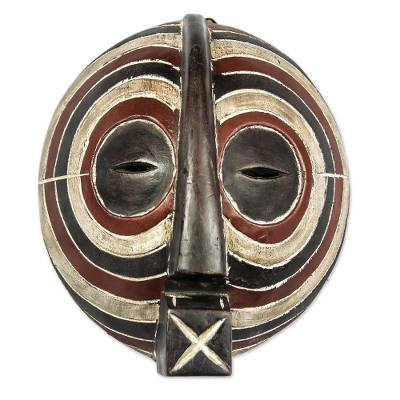 Congolese wood Africa mask, 'Luba Death Mask' - Hand Made Wood Mask from Africa