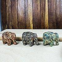 Ceramic sculptures, 'Forever Elephants' (set of 3) - Ceramic sculptures (Set of 3)
