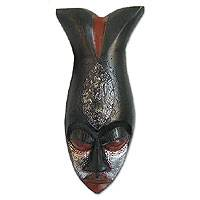Akan wood mask, 'Guardian Fish' - Akan wood mask