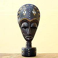 Wood sculpture, 'Akan Judge' - Sese Wood Mask