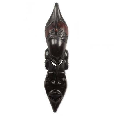 Ghanaian wood mask, 'Unite in Peace' - Handcrafted African Wood Mask