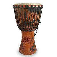 Wood djembe drum, 'Botanical Beat' - Hand Made Wood Djembe Drum