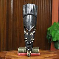 Ghanaian wood mask, 'Traditions' - Hand Crafted Wood Mask
