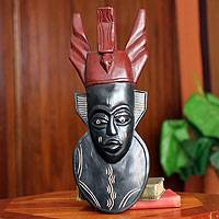 Akan wood mask, 'Do Not Rush Life' - Hand Carved African Wood Mask
