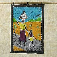 Batik wall hanging, 'Work Well Done' - Batik wall hanging