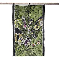 Batik wall hanging, 'Let's Live in Harmony' - Batik wall hanging
