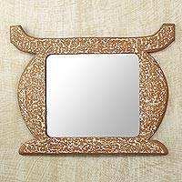 Cedar mirror, 'Ashanti Throne' - African Cultural Cedar Wood Mirror