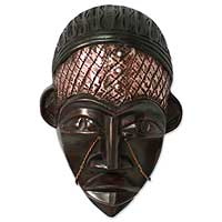 Ghanaian wood mask, 'Dagomba Chief' - African wood mask