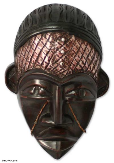 Ghanaian wood mask, 'Dagomba Chief' - African wood mask
