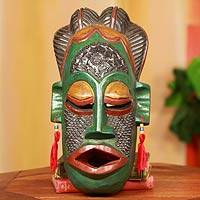 Congolese wood Africa mask, 'Thank You Nature'