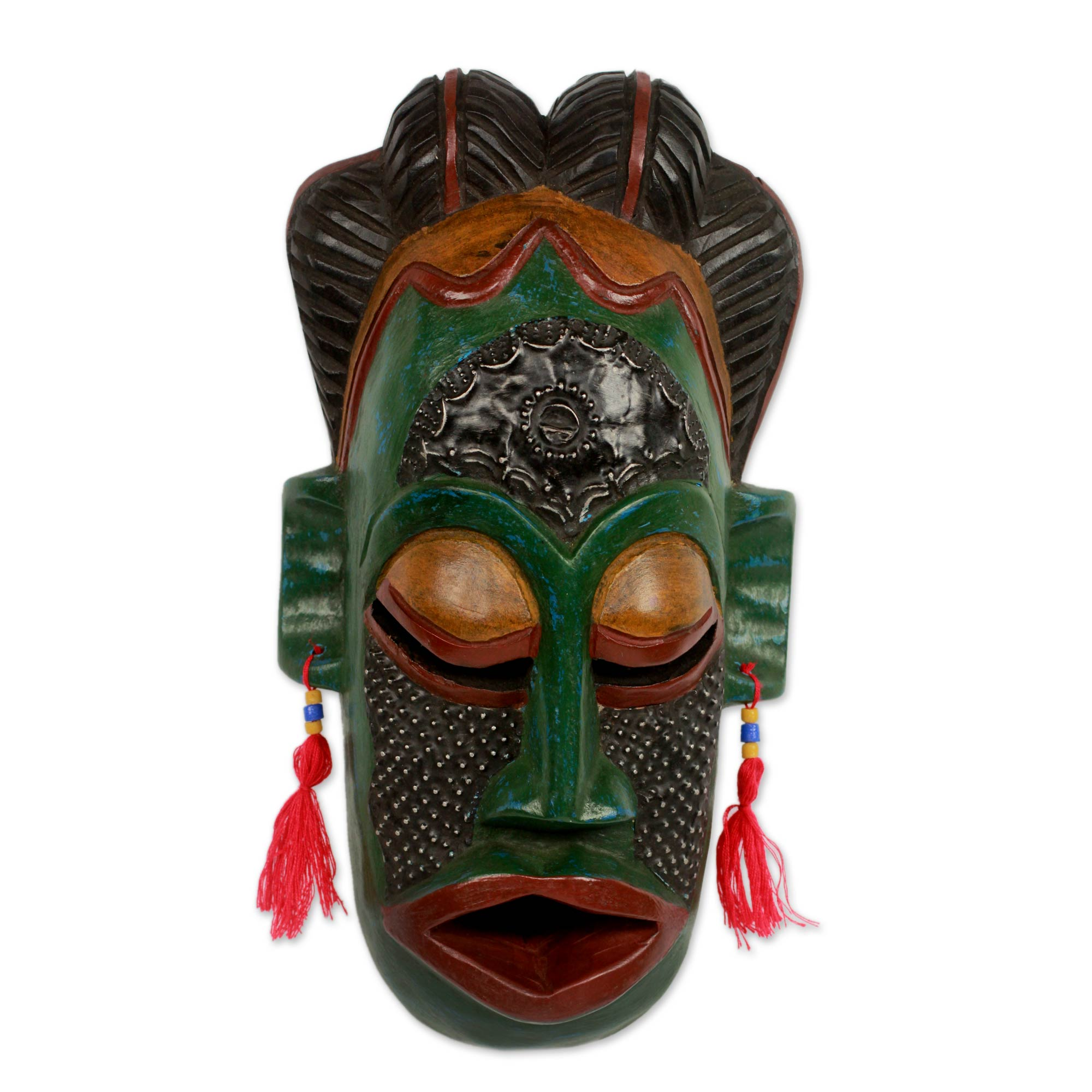 Fair Trade Wood Mask from West Africa, 'Blessing the Mother Goddess'