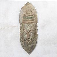 Ghanaian wood mask, 'God with Three Faces' - African wood mask