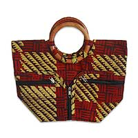 Cotton batik handbag, 'African Forest' - Cotton batik handbag