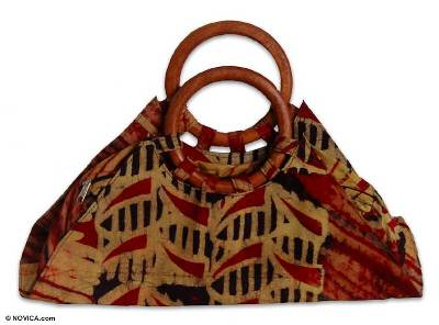 Cotton batik handbag, 'Tribal Color' - Cotton batik handbag