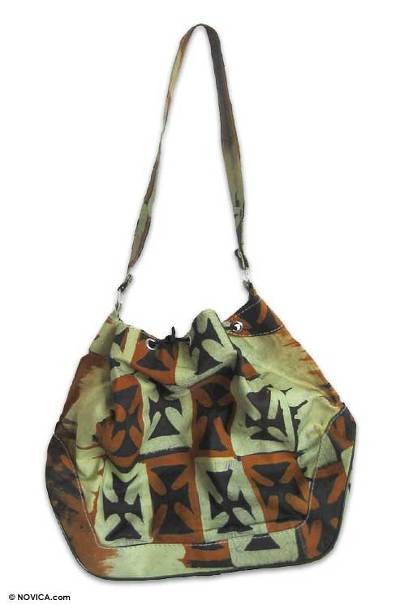 Novica Cotton batik handbag, Tribal Color
