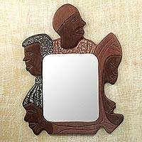 Cedar mirror, 'Family Reunion' - Hand Carved Wood Mirror