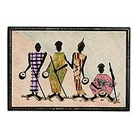 Cotton batik wall art, 'By the Roadside'