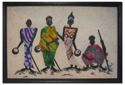 Cotton batik wall art, 'By the Roadside' - African Cotton Batik Wall Art