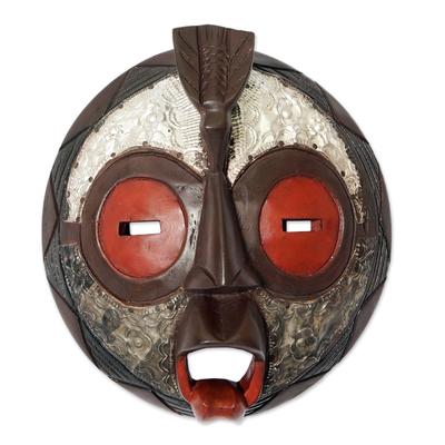 Ghanaian wood mask, 'Celebrate Peace' - African wood mask