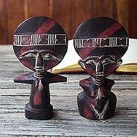 Wood fertility dolls, 'Twins' (pair) - Fertility Dolls from Ghana (Pair)