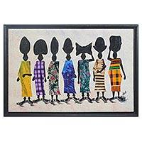Cotton batik wall art, 'Immigrants' - Original Batik Oil Painting