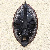 Ashanti wood mask, 'Come Home' - Hand Carved Wood Mask