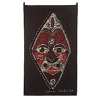 Batik wall hanging, 'The King's Royal Mask' - Batik wall hanging