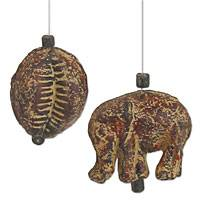 Ceramic ornaments, 'Red Cowry and Elephant' (pair) - Ceramic ornaments (Pair)