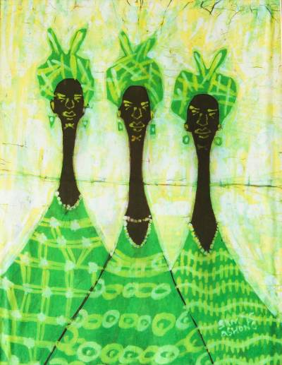 Batik art, 'Queens of the Market' - Handcrafted African Batik Cotton Wall Art