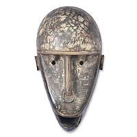 Congolese wood Africa mask, 'Secret Baboon' - Congolese Wood Wall Mask