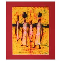 Batik art, 'City Dwellers' - Batik art