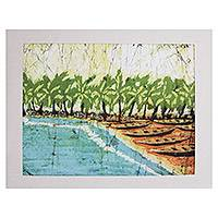 Batik art, 'Holiday Scene' - Batik art