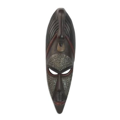 Akan wood mask, 'Good Advice' - Handmade Wood Mask