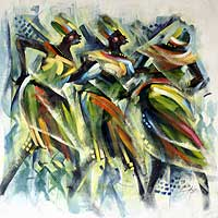 'Green Dancers' - Original Expressionist Painting