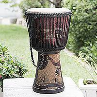 Wood djembe drum, 'Giraffe Beat' - Fair Trade Animal Themed Drum from Ghana