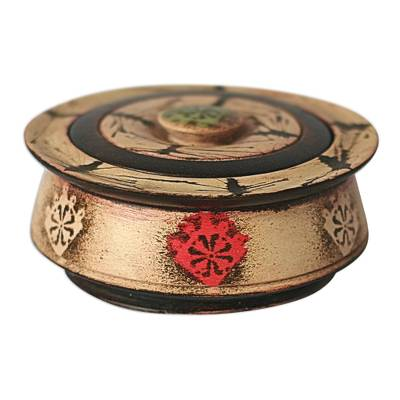 Wood decorative box, 'Ashanti Queen' - Wood decorative box