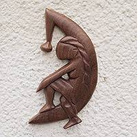 Wood wall adornment, 'Moon Shadow' - West African Handcrafted Wooden Moon-Themed Wall Art