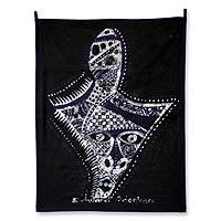 Batik wall hanging, 'Festival Mask' - Batik wall hanging