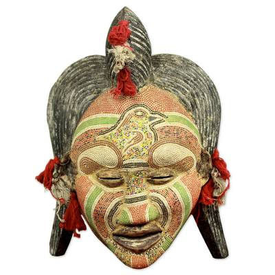 Congolese wood African mask, 'Ancient River Goddess' - Hand Beaded Wood Mask