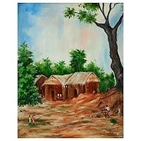 'Adija Village' - African Landscape Painting