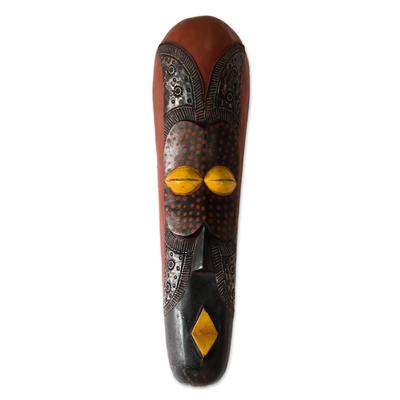 Ghanaian wood mask, 'Good Tidings' - Fair Trade African Wood Mask