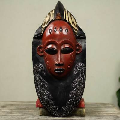 Akan wood mask, 'Supremacy' - Artisan Crafted Wood Mask