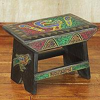 Beaded throne stool, 'Look Behind You' - Handcrafted Beaded Short Stool