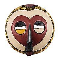 Ghanaian wood mask, 'A Good Heart' - Handcrafted African Wood Mask