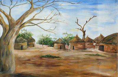 Acrylic African Village Painting