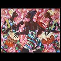 'Divine Troupe' - Dance and Music Expressionist Painting from Africa