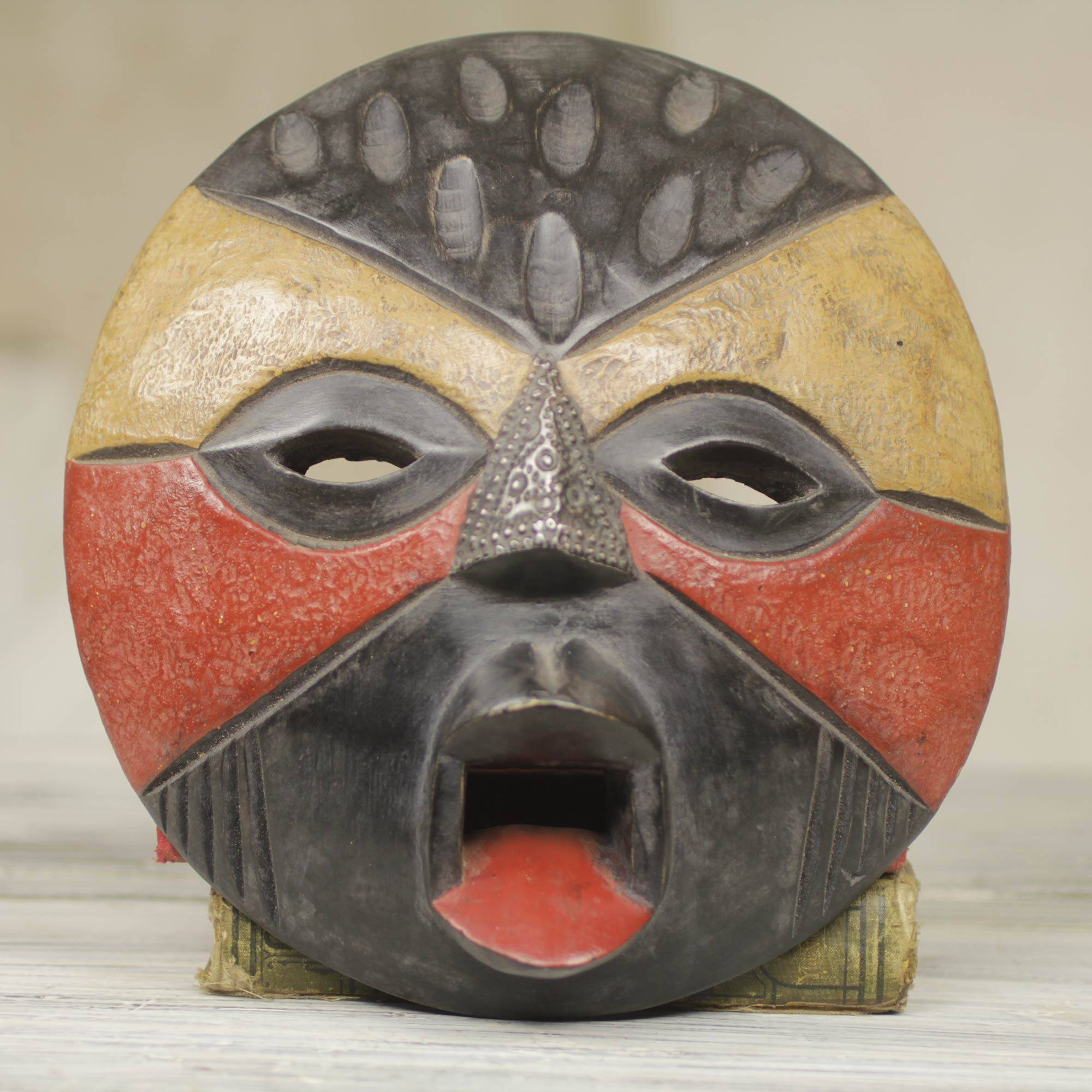 Hand carved wooden african tribal mask 1177