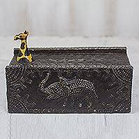 Wood jewelry box, 'Proud Giraffe' - Hand Carved Sese Wood Elephant and Giraffe Jewelry Box