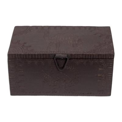 Wood jewelry box, 'Sankofa Adinkra Bird' - Handmade Wood Jewelry Box