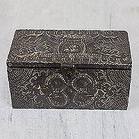 Wood and aluminum jewelry box, 'King's Treasures' - Wood and Aluminum Jewelry Box